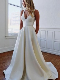 A-Line/Princess V-neck Sweep/Brush Train Satin Wedding Dress