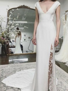 Sheath/Column V-neck Court Train Satin Lace Wedding Dress
