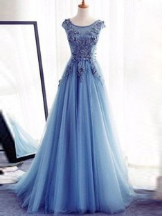 Ball Gown Jewel Floor-Length Tulle Dress