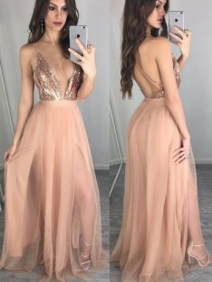 A-Line Spaghetti Straps Chiffon Floor-Length Dress