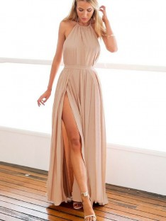 A-Line Halter Floor-Length Chiffon Dress