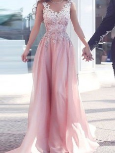 A-Line Sweetheart Floor-Length Chiffon Dress