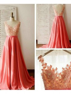 A-Line Sweetheart Long Lace Chiffon Bridesmaid Dress