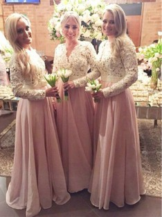 A-Line V-neck Long Lace Chiffon Bridesmaid Dress
