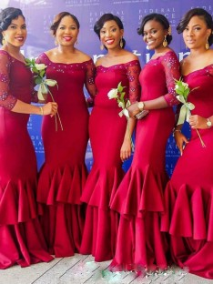 Mermaid Off-the-Shoulder Long Ruched Satin Bridesmaid Dress