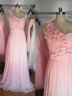 A-Line One-Shoulder Long Hand-Made Flower Chiffon Bridesmaid Dress