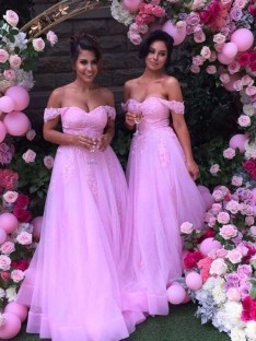 A-Line Off-the-Shoulder Long Applique Tulle Bridesmaid Dress