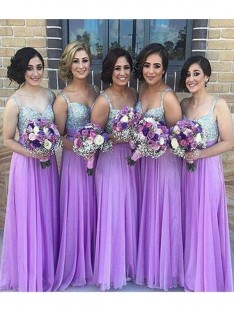 A-Line Sweetheart Long Sequin Chiffon Bridesmaid Dress