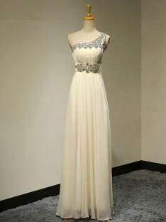 A-Line One-Shoulder Long Beading Chiffon Bridesmaid Dress