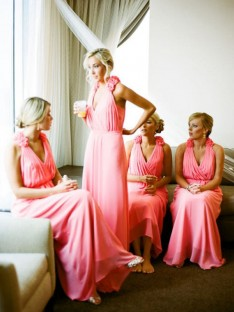 A-Line V-neck Long Hand-Made Flower Chiffon Bridesmaid Dress