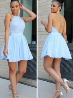 A-Line Halter Lace Short/Mini Chiffon Dress