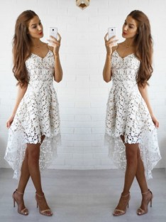 A-Line Spaghetti Straps Lace Short/Mini Dress