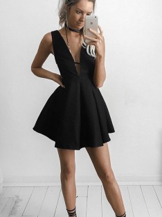 A-Line V-neck Short/Mini Jersey Dress