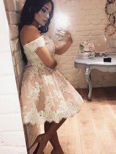 A-Line Off-the-Shoulder Lace Short/Mini Dress