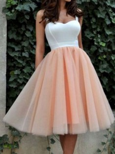 A-Line Sweetheart Tulle Short/Mini Dress