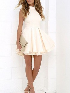 A-Line Halter Satin Short/Mini Dress