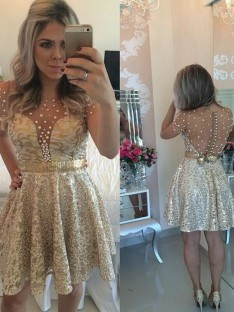 A-Line Scoop Sequin Satin Short/Mini Dress