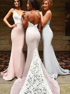 Mermaid Sweetheart Long Lace Spandex Bridesmaid Dress