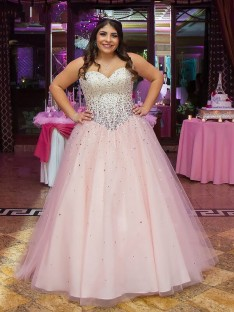 Ball Gown Sweetheart Tulle Long Beading Plus Size Dress