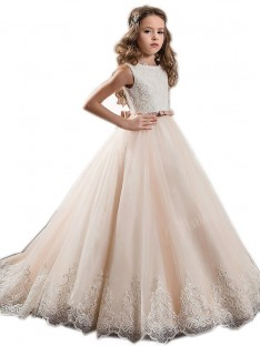 Ball Gown Jewel Lace Sweep/Brush Train Tulle Flower Girl Dress
