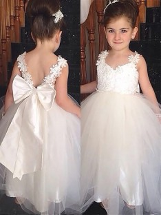 Ball Gown Sweetheart Floor-Length Tulle Flower Girl Dress