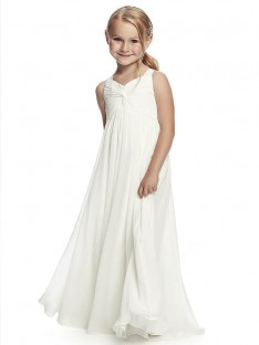 A-Line/Princess Straps Floor-Length Chiffon Flower Girl Dress