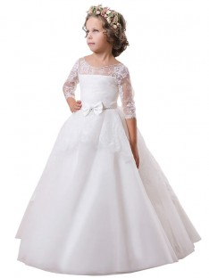 Ball Gown Jewel Lace Sweep/Brush Train Satin Flower Girl Dress