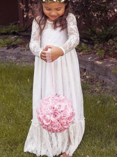 A-Line/Princess Jewel Lace Floor-Length Flower Girl Dress