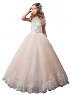 Ball Gown V-neck Lace Floor-Length Tulle Flower Girl Dress