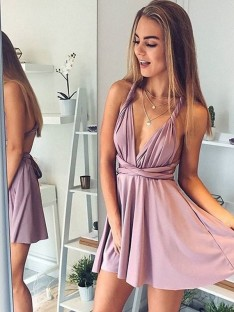 A-Line V-neck Short Dress