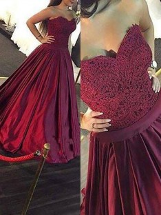 Ball Gown Sweetheart Lace Floor-Length Satin Dress