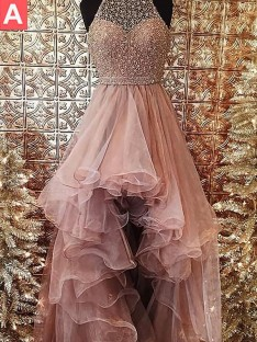 Ball Gown Halter Asymmetrical Tulle Dress