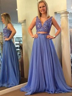 A-Line/Princess V-neck Chiffon Floor-Length Two Piece Dress