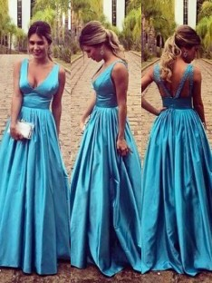 A-Line/Princess V-neck Elastic Woven Satin Floor-Length Dress
