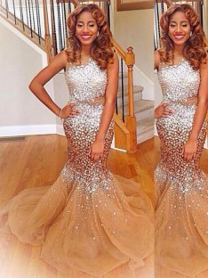 Trumpet/Mermaid Bateau Sequin Sweep/Brush Train Tulle Dress