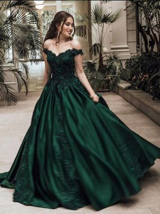 Ball Gown Off-the-Shoulder Floor-Length Lace Satin Dress