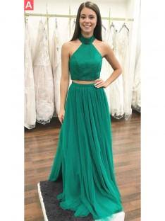 A-Line/Princess Halter Floor-Length Tulle Two Piece Dress