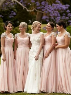 A-Line Square Beading Chiffon Long Bridesmaid Dress