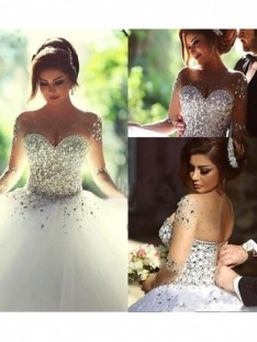 Ball Gown Scoop Court Train Wedding Dress