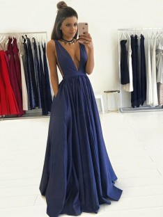 A-Line V-neck Floor-Length Taffeta Dress