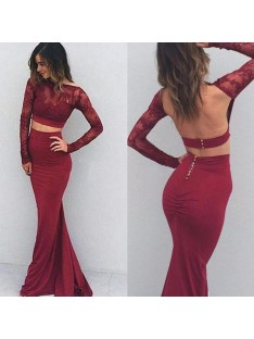 Mermaid Bateau Spandex Long Sleeves Floor-Length Dress