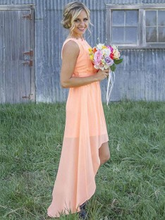 A-Line Scoop Asymmetrical Chiffon Bridesmaid Dress