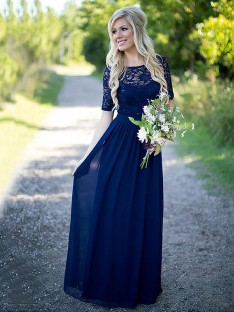 A-Line Scoop Floor-Length Chiffon Bridesmaid Dress