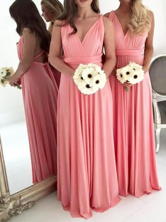 A-Line V-neck Floor-Length Spandex Bridesmaid Dress
