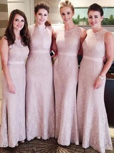 Sheath Lace Scoop Floor-Length Bridesmaid Dress