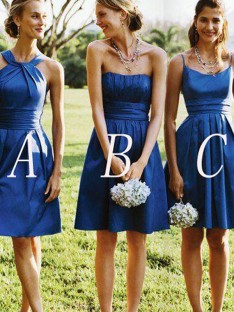 A-Line Satin Short/Mini Bridesmaid Dress
