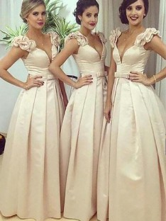 A-Line Floor-Length Satin Straps Bridesmaid Dress