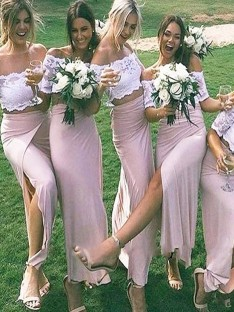 Sheath Jersey Off-the-Shoulder Floor-Length Bridesmaid Dress