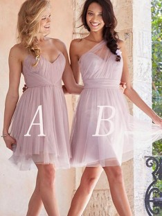 A-Line Tulle Short/Mini Bridesmaid Dress