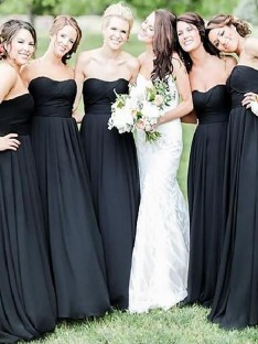 A-Line Floor-Length Sweetheart Chiffon Bridesmaid Dress